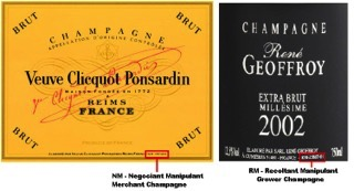 Champagne labels RM v NM