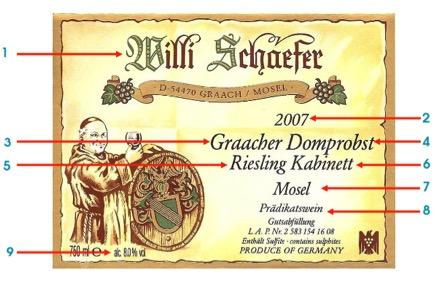 German wine label