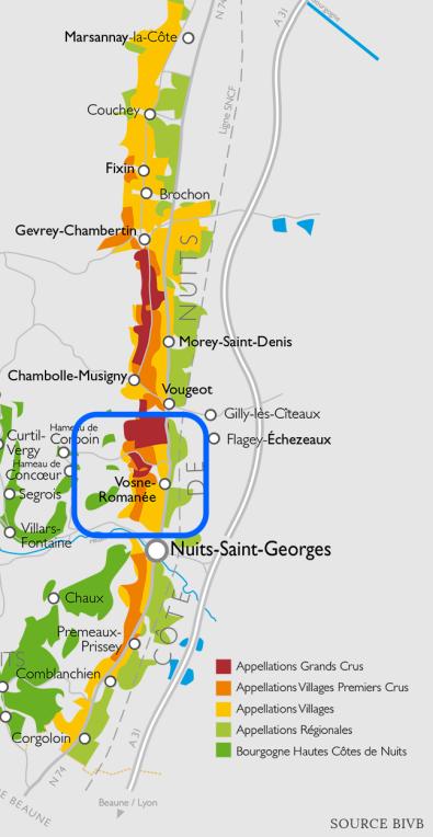 Cote de Nuits map